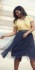 Adia Fashion - Skirt smart Rock mit Plissee Tüll und fest Futter, wie ist wenig kürzere. Breit blank Elastik in linningen