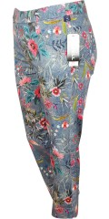 Robell - Rose denim capri stretch pants with nice flowers and rubber band in whole the waist
