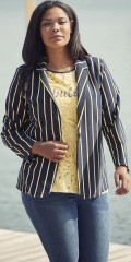 Adia Fashion - Jacket shape sewn blazer in soft  rib. Smart navy with yellow stripes