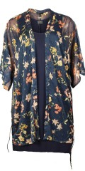 Cassiopeia - Sari kimono with 3/4 sleeves in nice printed chiffon with mica