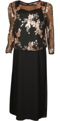 Kirsten Krog Design - Long evening dress with copper lace top
