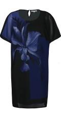 Zhenzi - Kortærmet tunica i chiffon med fast underkjole, velkendt model med slidse i nakken