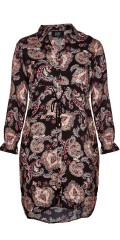 Zoey - Sandy all-buttoned long shirt in beautiful paisley pattern with long sleeves as ends with a thin rubber band