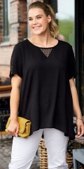 CISO - T-shirt with lace in sleeves, neck and v cutting