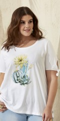 Zhenzi - T-shirt in cotton with round neck and nice motif front