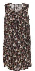 Gozzip - Kleid ohne Ärmeln in hübsch blumengemustert Stoff mit Falte vorn und hinten, sowie 2 Taschen