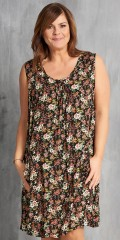 Gozzip - Dress without sleeves in nice flowery fabric with pleat front and back, also 2 pockets