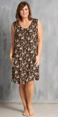 Dress without sleeves in nice flowery fabric with pleat front and back, also 2 pockets