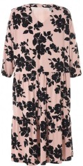 Gozzip - Dress with v cutting and 3/4 sleeves with black flowers
