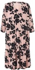 Gozzip - Kleid mit V-Hals und 3/4 Ärmeln mit schwarze Blumen