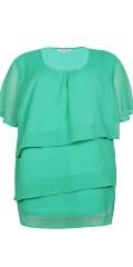 Zhenzi - Sweet chiffon blouse with wing sleeve and hard top