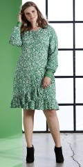Zhenzi - Flot kjole i fast stof med lange ærmer og flæser forneden