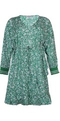 8c9601408d85 Zhenzi - Flot kjole i fast stof med lange ærmer og flæser forneden  Størrelser på lager