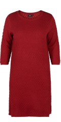 Zizzi - Warme Strick Tunika Kleid in hübsch Muster und mit 3/4 Ärmeln, Kanone gut Preis