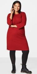 Zizzi - Varm strikk tunika kjole i flott mønster og med 3/4 ermer, kanon god pris