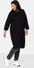 Zizzi - Warm knit tunica dress in nice pattern and with 3/4 sleeves, cannon good price