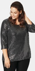 Zizzi - Mica party blouse with 3/4 sleeves and round neck