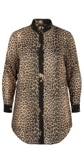 Zizzi - Eleonea Leoparde durchgeknöpft Chiffon Hemd