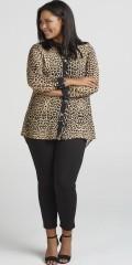 Zizzi - Eleonea leopard all-buttoned chiffon shirt