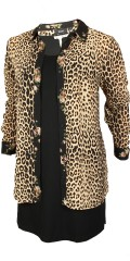Zizzi - Eleonea leopard all-buttoned chiffon shirt