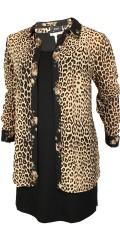 Zizzi - Eleonea leopard gennem knappet chiffon skjorte