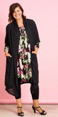 Gozzip - Open chiffon cardigan with nice round flowers and 3/4 sleeves also 2 pockets