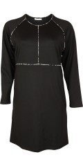 Cassiopeia - Dafine long-sleeve dress in stylish heavy viscose with smart pipings