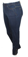 7/8 pants with elastic in whole the waist and 4 pockets also smart zipper in both legs