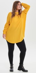 ONLY Carmakoma - Carnut single-coloured tunica with long sleeves and slit in the neck