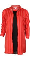 Zhenzi - Långärmad randat skjorta med möjlighet framsida spund i sidorna