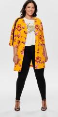 ONLY Carmakoma - Knälång kimono med 3/4 ärmar och kort wing ärm med svart galon