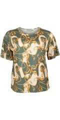 Cassiopeia - Martha strechy bluse med smart print