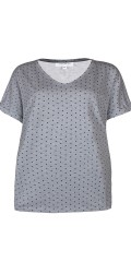 Zhenzi - T-shirt with short sleeves and v cutting also chest pocket in left side