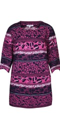 Zhenzi - Patterned tunica with 3/4 sleeves and round neck