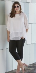 Zhenzi - Popcorn layer on layer blouse with 3/4 sleeves as can draped.