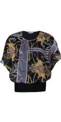 Zhenzi - Chiffon blouse with sewn top and wide rib at the bottom