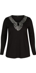 Zizzi - Night blouse with leopard/animalprint