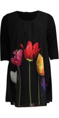 Handberg - Tunika i chiffon med tulipan trykk