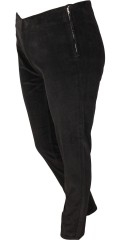 Adia Fashion - Smart strechy velvet leggings 78 cm. length with zipper and button in the side