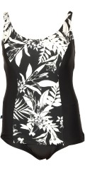 Mirou Swimwear - Smart bathing suit with print black-white palm trees