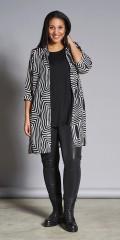 Studio Clothing - Pollock randat 3/4 chiffon skjorta/kimono