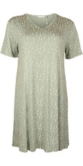 Cassiopeia - Susanne dress with v cutting, short sleeves and with white dots