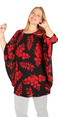 Studio Clothing - Tunika in Chiffon mit rote Blumen