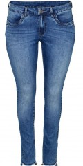 Zoey - Super strechy washed ankel jeans slim fit med bæltestropper og lommer