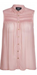 Zoey - Transparent all-buttoned shirt without sleeves with nice pleat on front panel