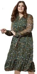 Zhenzi - Langermet maksi kjole med rysj