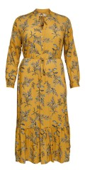 ONLY Carmakoma - Yellow flowery dress with flounces