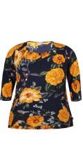Zhenzi - Bluse 3/4, med blomster print