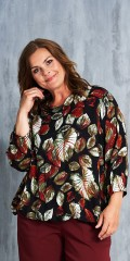 Gozzip - Blouse in print with beautiful leaves