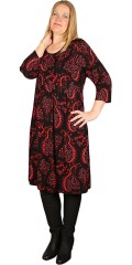 Boheme dress with red graphic print
